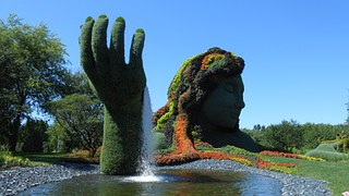 Photo of Plant Garden Sculpture Rising open Hand and behind Face Portrait of Greens, Flowers and Bushes