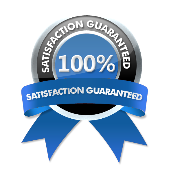 Blue and grey Seal on marblewhite Background representing Satisfaction Guarantee of 100 per Cent