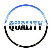 Blue, white, black filled Term QUALITY  in  Center of  Circle has same Shape and Style as  Font Face Colors