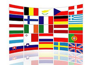 Collection of 25 different Country Flags in Square