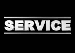 Term Service in huge white Capital Letters with two white Bars closing it on Top and Buttom on black Background