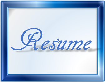 Blue framed Work of Handwriting Art Font Face Style and Color Blue and Font Shape shadowing Ground of Term RESUME