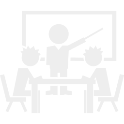 Frameless Work with grey Background presents a Classroom of two white shaped Students in front of white shaped Teacher at the Blackboard
